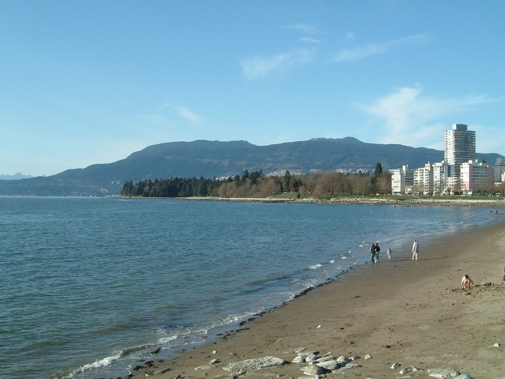 View from the beach at English Bay, Vancouver, February 2005