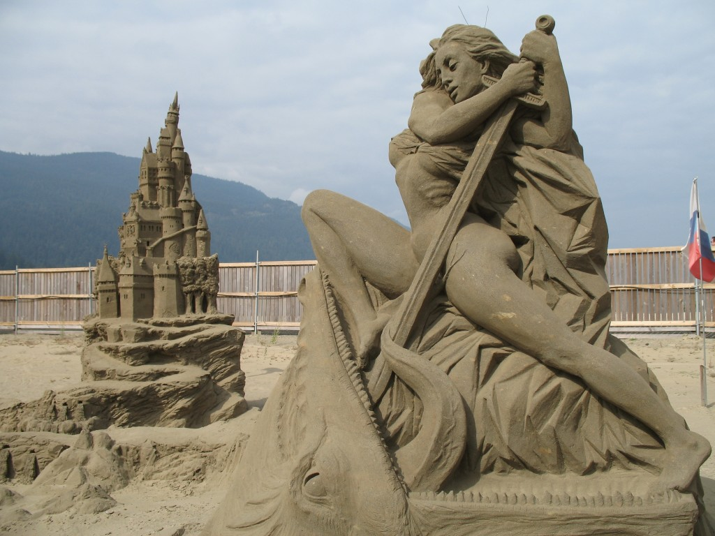 Sand sculptures at Harrison Lake, BC, September 2008