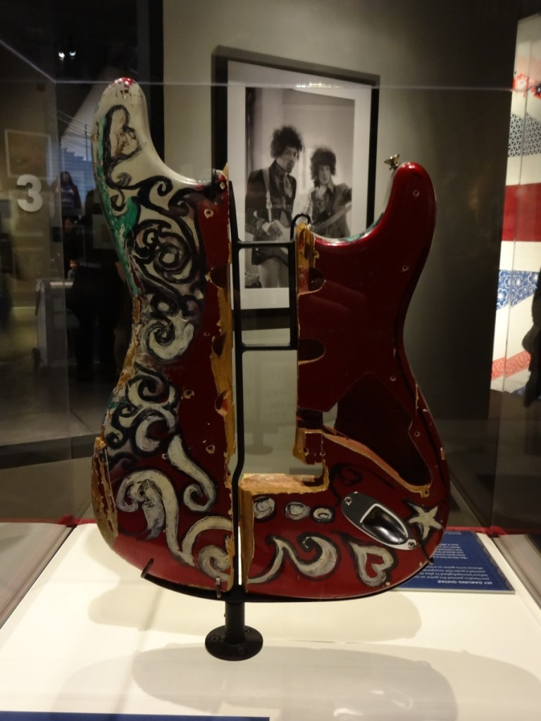 Remnants of the guitar destroyed by Jimi Hendrix at his farewell London gig, 4th June, 1967 Taken at EMP Museum, Seattle - March 2014 Photograph Copyright – Philip Harris, 2014. All Rights Reserved